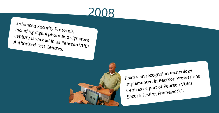 2008: Enhanced Security Protocols, including digital photo and signature capture launched in all Pearson VUE® Authorised Test Centres Palm vein recognition technology implemented in Pearson Professional Centres as part of Pearson VUE's Secure Testing Framework™.